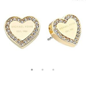Michael Kors Gold✨ Diamond heart stud earrings